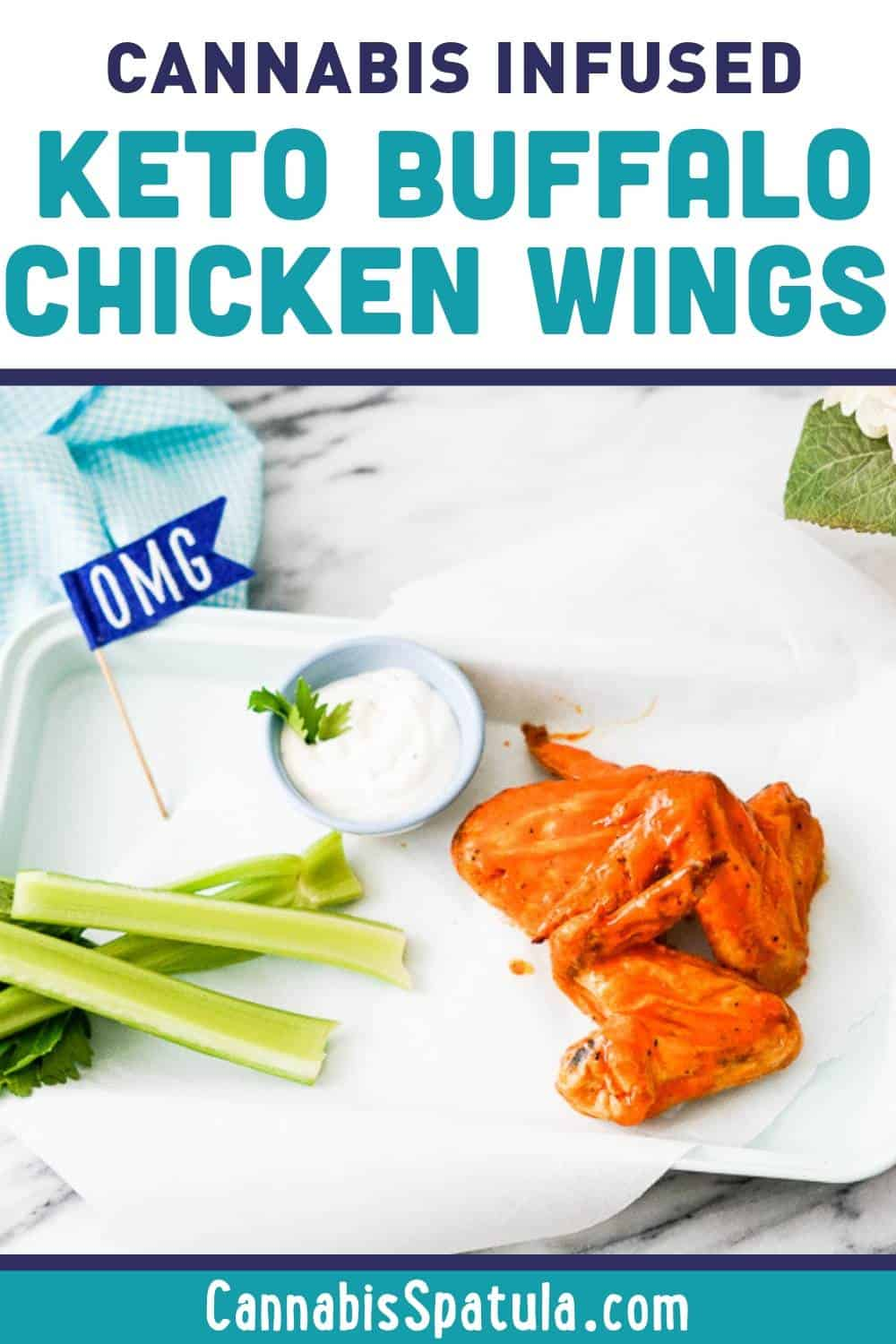 Keto Cannabis Buffalo Chicken Wings Recipe Pinnable Image